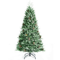 7 Feet Snow Flocked Artificial Christmas Tree with 1139 Glitter PE and PVC Tips