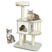 46 Inch Wooden Cat Activity Tree with Platform and Cushions