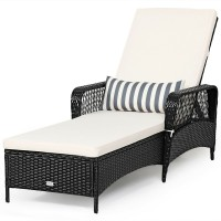 PE Rattan Armrest Chaise Lounge Chair with Adjustable Pillow