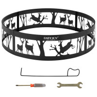 """36"""" Metal Fire Pit Ring Deer with Extra Poker Bonfire Liner for Campfire"""