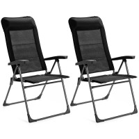 2 Pieces Portable Patio Folding Dining Chairs with Headrest Adjust