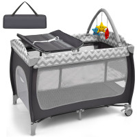 3 in 1 Portable Baby Playard with Zippered Door and Toy Bar