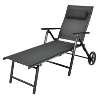 Patio Lounge Chair with Wheels Neck Pillow Aluminum Frame Adjustable