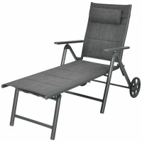 Patio Reclining Chaise Lounge with Adjust Neck Pillow