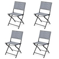 Set of 4 Patio Folding Rattan Dining Chairs for Camping and Garden