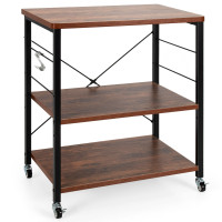 3-Tier Kitchen Baker's Rack Microwave Oven Storage Cart with Hooks