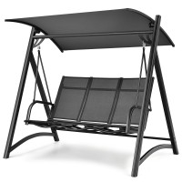 3-Person Porch Swing Chair with Anti-rust Aluminum Frame and Adjustable Canopy
