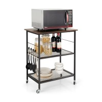 3-Tier Kitchen Serving Cart Utility Standing Microwave Rack with Hooks