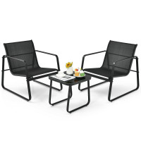3 Pieces Patio Bistro Furniture Set with Glass Top Table Garden Deck