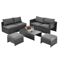 6 Pieces Patio Rattan Furniture Set Space Saving Cushioned No Assembly