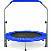 40 Inch Folding Exercise Trampoline Rebounder with 4-Level Handrail Carrying Bag