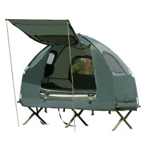 1-Person Compact Portable Pop-Up Tent Air Mattress and Sleeping Bag