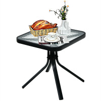 18 Inch Patio Coffee Side Table with Tempered Glass