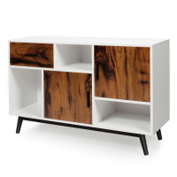 Sideboard Storage Cabinet with Display Shelves Doors and Drawer