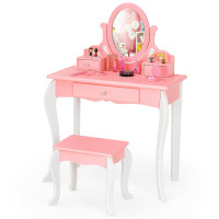Kids Vanity Princess Makeup Dressing Table Stool Set with Mirror and Drawer