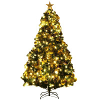 Pre-Lit Artificial Christmas Tree wIth Ornaments and Lights