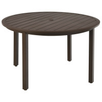 49 Inch Round Patio Dining Table Metal Slatted Table with Umbrella Hole