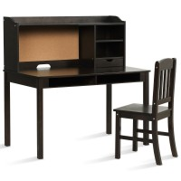 Kids Desk and Chair Set Study Writing Desk with Hutch and Bookshelves