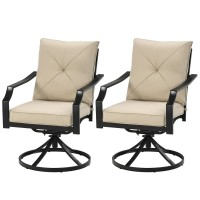 Set of 2 Patio Swivel Dining Chairs with Cushions