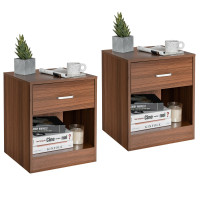 2 Pieces Nightstand with Storage Drawer and Cabinet