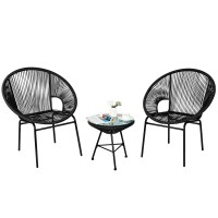 3Pcs Patio Acapulco Furniture Bistro Set with Glass Table