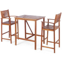3 Pieces Patio Bar Set with 2 Bar Stools and 1 Bar Table
