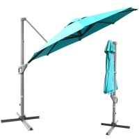 11ft Patio Offset Umbrella with 360° Rotation and Tilt System