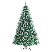 Artificial Snow Flocked Christmas Tree with Pine Cones