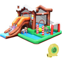 Outdoor Indoor Inflatable Kids Bounce House with 480W Air Blower