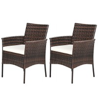 2 Pieces Rattan Arm Dining Chair Cushioned Sofa Furniture Patio
