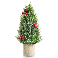"""18.5"""" Snowy Tabletop Christmas Tree with PE Branch Tips and Pulp Base"""
