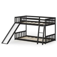 Twin over Twin Bunk Wooden Low Bed with Slide Ladder for Kids