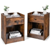 Set of 2 Nightstand with Drawer Cabinet End Side Table Raised Top