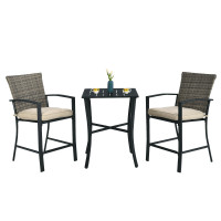 3 Pieces Patio Rattan Bar Furniture Set with Slat Table and 2 Cushioned Stools
