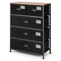 5-Drawer Storage Dresser with Labels and Removable Fabric Bins
