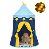 Indoor Outdoor Kids Foldable Pop Up Play Tent with Star Lights Carry Bag