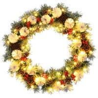 30 Inch Pre-lit Flocked Artificial Christmas Wreath with Mixed Decorations