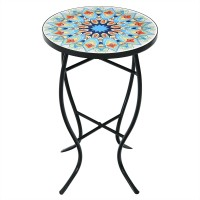 14'' Mosaic Side Small Round Bistro End Table with Cast Iron Plant Stand