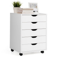 5 Drawer Mobile Lateral Filing Storage Floor Cabinet with Wheels