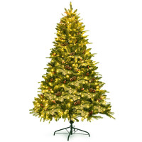 6.5Ft Pre-lit Snow Flocked Hinged Artificial Christmas Tree