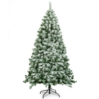 6 Feet Snow Flocked Artificial Christmas Tree Hinged with 928 Tips