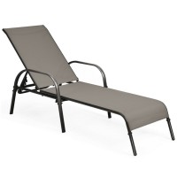 Adjustable Patio Chaise Folding Lounge Chair with Backrest
