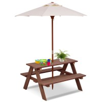 Outdoor 4-Seat Kid's Picnic Table Bench with Umbrella