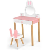 Kids Vanity Set Rabbit Makeup Dressing Table Chair Set with Mirror and Drawer