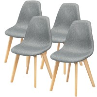 4 Pieces Modern Dining Chair Set with Wood Legs and Fabric Cushion Seat