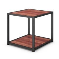"""20"""" Metal Square Side Table Coffee Stand Bottom with 2-Tier Shelf"""