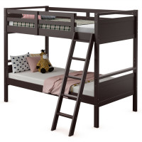Twin Over Twin Bunk Bed Convertible 2 Individual Beds Wooden