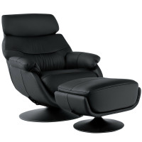Top Grain Leather Swivel Rocking Chair and Ottoman Set with Locking Handle