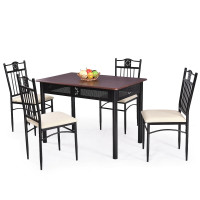 5 Pcs Dining Set Wood Metal Table and 4 Chairs with Cushions