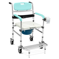 Multifunctional Rolling Commode Chair with Removable Toilet